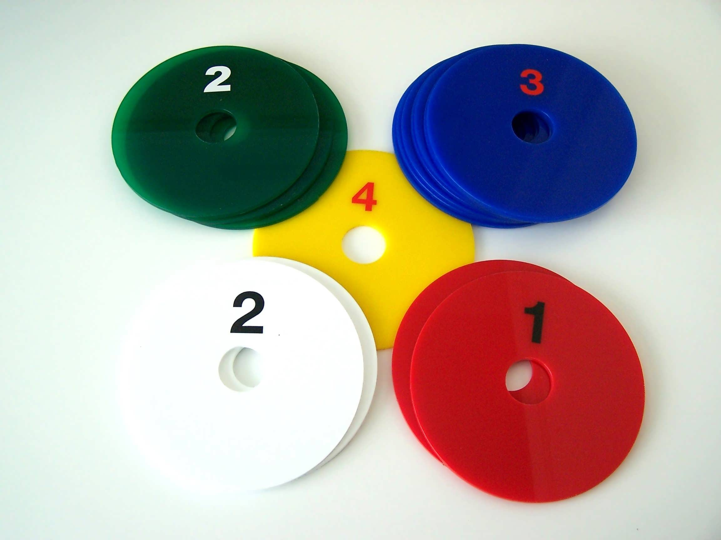 numbered plastic discs