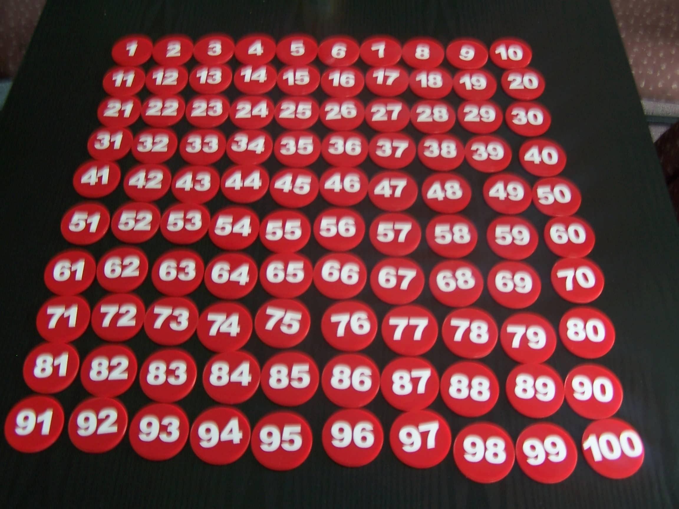Numbered Plastic Discs
